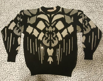Large Vintage Adell Barre Black and Silver Sequin Geometric Sweater