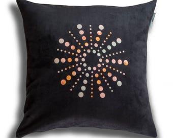 "Spirale cushion cover/ velvet and silk/ 45 x 45cm (18""x 18"")"