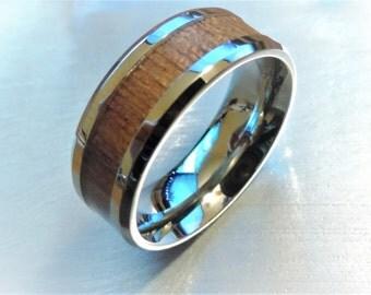 Titanium ring with Ironwood Inlay