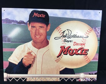 Vintage Reproduction Ted Williams Moxie Ball Field Metal Sign
