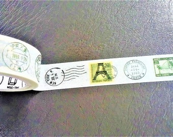 Vintage Stamps Japanese Washi Tape. Scrapbook and Stationery Tape. Pretty Masking Tape.