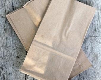"25 Extra Small Brown Kraft Paper Bags, Paper Lunch Grocery Bag, Brown paper bags, gusset bags, wedding favor bag, kraft bag 3.5x2.25x 6.5"""
