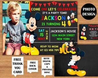 Mickey Mouse Invitation Mickey Mouse Photo Birthday Invitations Mickey Mouse Kids Birthday Printable Invite Mickey Mouse Printable Card