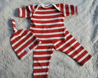 Baby boy outfit, baby boy clothes, 3-6 month outfit/orange stripes baby boy outfit, summer outfit,  rusty orange and white stripes