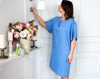 Natural blue linen dress, Summer dress, Plus size dress, One size tunic, Light weight linen kimono, Every day dress, Casual dress