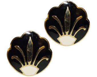 Earrings Clips VINTAGE SPHINX - Style lily white and black