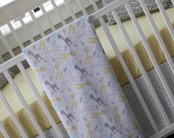 Grey, Yellow and Aqua Crib Bedding/ Baby Bedding/Giraffe Crib Bedding/Giraffe Baby Bedding/Grey and Crib Bedding/Gender Neutral Crib Bedding