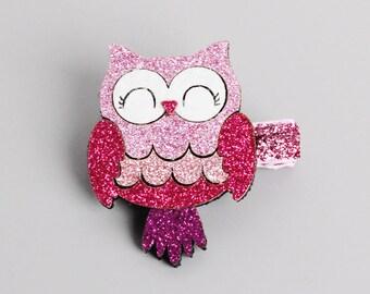 Glitter Owl Hair Clip