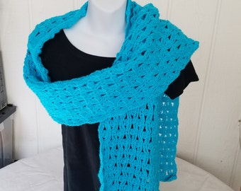 Hand crochet Turquioise  scarf or wrap (RS22)