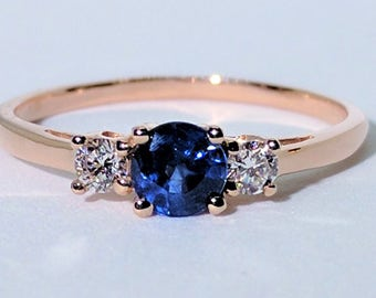 Three-Stone Blue Sapphire Diamond Ring| Blue Sapphire Ring| Diamond Ring| Engagement Ring| 18k Gold Ring| Rose Gold Ring| Anniversary Gift
