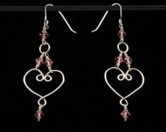 Scrolling Heart Earrings
