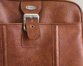 Vintage 70s Brown Vinyl Jet Stream Bag with Front Buckle