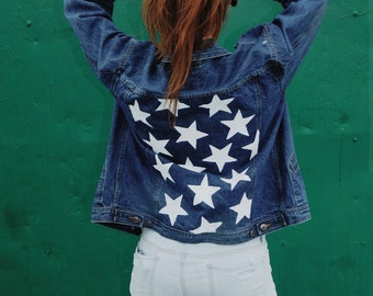 Custom Hand Painted Distressed Denim Jacket (Stars) Upcycled