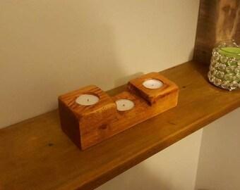 3 Tier Pine Tealight Holders - Rustic Rectangular Wooden Candle Holders