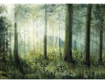 sunset painting, original painting, sunset artwork, original watercolor, decor, home decoration, home decor, decorative, forest painting