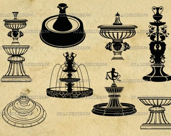 Digital SVG PNG JPG Fountains, vector, silhouette, clipart, instant download