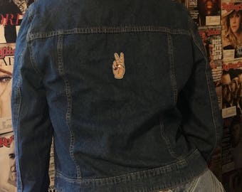 Peace out Patched jean jacket