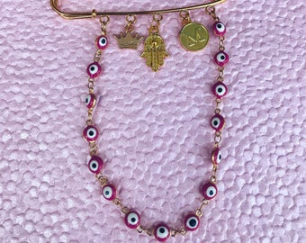 Evil Eye Stroller Pin Crib Pin Bassinet Pin With initial and hamsa Pink evil eye