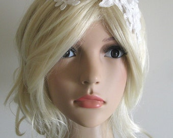 OOAK Romantic 3D flower bridal lace headband white ivory wedding headpiece