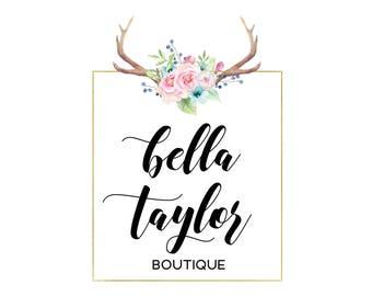Antler logo square, Feminine logo, Calligraphy logo, Horn logo, Floral logo, Antlers flowers logo, Premade flower logo design, Boutique logo