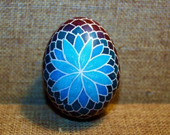 Blue Flower Pysanky Egg