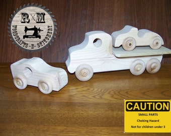 Wood Toy Flatbed Truck and Car Set