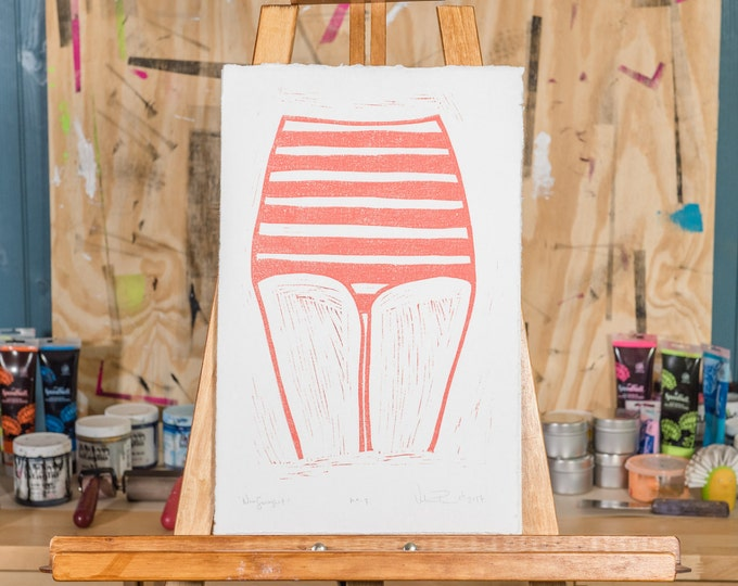 "11x17"" Original Linocut, ""New Swimsuit"" Hand Carved. Hand Inked. Hand Pressed."