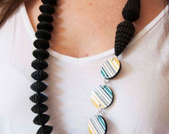 Eco design necklace of handmade paper