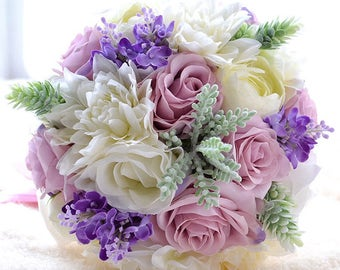 Spring flowers pastel shades bridal wedding bouquet