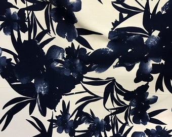 White Blue Floral Crepe Rayon Fabric by the yard
