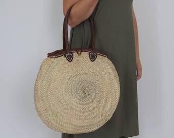Round straw basket with handles, tote, basket, straw bag, market basket, summer bag, beach Bag.