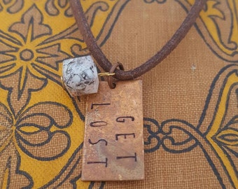 Copper and marble Get Lost necklace