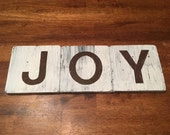 Handcrafted Wooden JOY Sign - Personalized