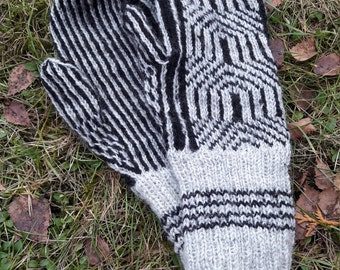 Black and white knitted glove