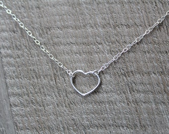 Small Dainty Sterling Silver Heart Necklace - Gift Friend Sister bridesmaid