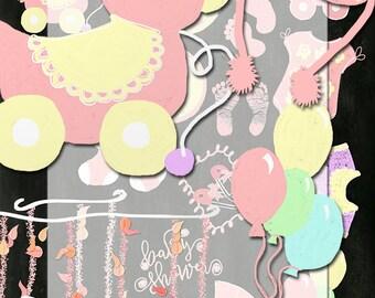 Baby shower, hand drawn chalk images, Clip art, digital collage sheet,