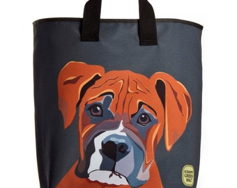 Reuseable Market Bag - Made from Recycled Materials - Eco-Friendly - Washable - Grocery Bag - Boxer - Dog - Gray - Dye Sublimation