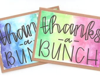 Thanks A Bunch, Handmade Card, Tie-dyed, Free Shipping
