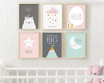 Set of 6, Twinkle Twinkle Little Star, Cloud Nursery, Scandinavian Print, Minimalist Poster, Nursery Print, Rain Drops Print, Moon And Star
