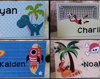 Personalised childrens boys wall/door plaque, wall hanging, dinosaur, space, pirate, football