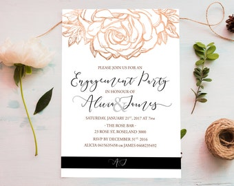 Engagement Invitation, Floral Invitation, Floral Engagement Invitation, Invitation Mockup, Engagement Party Invitation, Rosegold Invitation