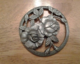 Vintage Pewter Floral Decorative Candle Topper Home Decor Accent