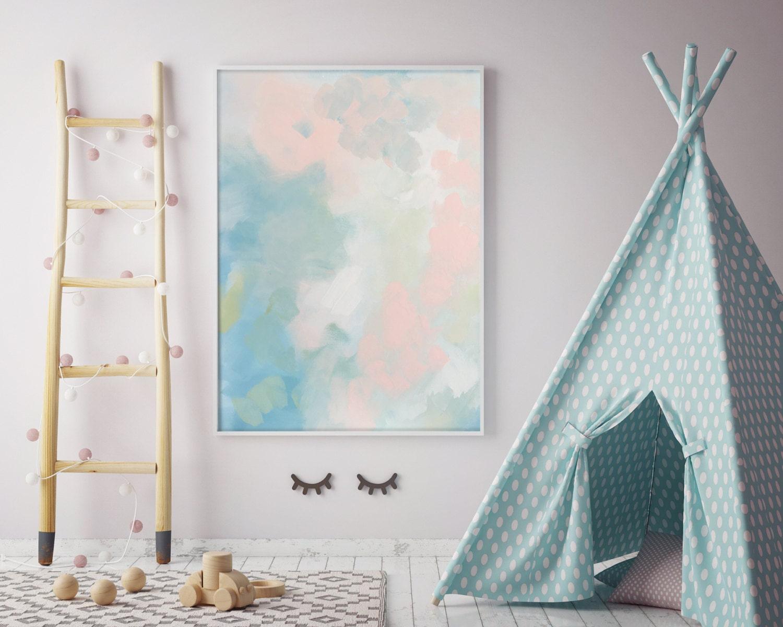 z abstract nursery pastel peach blue canvas nursery art pastel