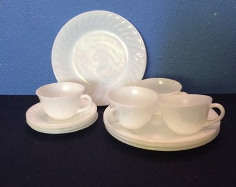 Vintage Fire King Swirl, Four Plates, Four Cups and Four Saucers
