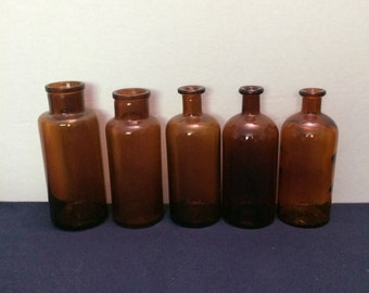 Vintage Apothecary Bottles, Assortment of 5