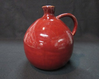 Pottery Jug/Hand Made/Wheel Thrown/Red/Decorative Vase/Signed and Stamped