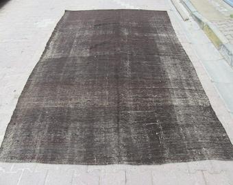 7.2x11.7 Ft Vintage black modern goat hair Turkish kilim rug