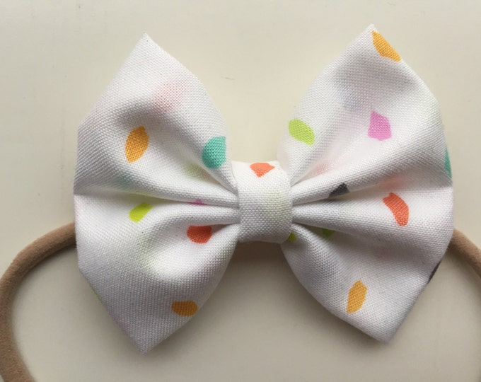 Confetti fabric hair bow or bow tie