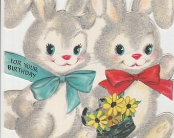 1950s Flocked Bunnies Birthday Card  - Hallmark - Great Vintage Condition - Rabbit - basket - flowers