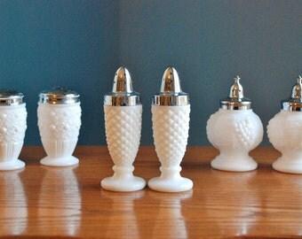 Vintage White Milk Glass Salt & Pepper Shakers - Set of Three - Instant Collection - English Diamond Hobnail - Grape w/Vine - Floral Dot